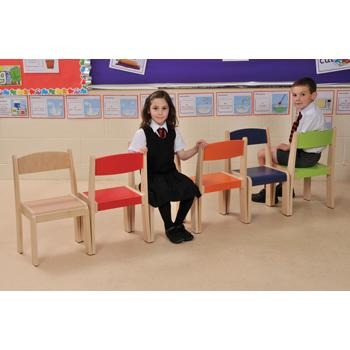 Coloured & Natural Beechwood Furniture, Stackable Chairs, Set of 4