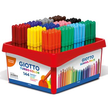 Giotto Turbo Fine Fibre Tipped Pens, Black, Pack of 12