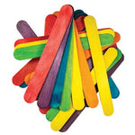 Lollipop Sticks, Jumbo, Assorted Colours, 150 x 19mm, Pack of 100