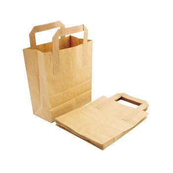 Bags, Carrier, Brown Kraft Paper, 216 x 180 x 90mm, Pack of 250