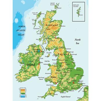Vinyl Maps for Schools, British Isles, Each