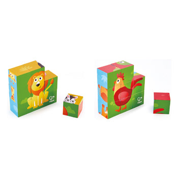 Nursery Toys, 6-Sided Animal Block Puzzles, Set of 2