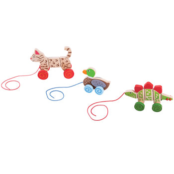 Nursery Toys, Animal Pull Along Set, Set of 3