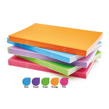 Book, Sketch, Stapled, 140gsm Toothy Cartridge Paper, A4 Card Cover, 5 Assorted Bright Colours, Plain, Pack of 25