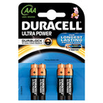 Batteries, Duracell, Ultra M3, MN2400, 1.5 volts, AAA, Pack of 4