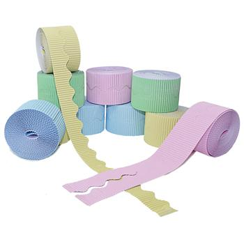 Corrugated Paper Border Rolls, Scalloped Cut Plains Assorted, Pastels, Pack of 10 Rolls