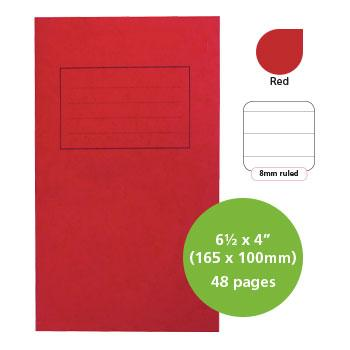 Exercise Books, Manilla Covers, 6 1/2 x 4'' (165 x 100mm), 48 Pages - Notebook, Red, 8mm Ruled, Pack of 25