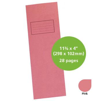 Exercise Books, Manilla Covers, 11 3/4 x 4'' (298 x 102mm), 28 Pages - Dictionary Book, Pink, Plain - Dictionary, Pack of 25
