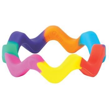 Chewing Aids, Rainbow Wavy Tread Bangle, Set of 2