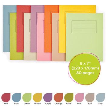 Exercise Books, Manilla Covers, 9 x 7'' (229 x 178mm), 80 Pages