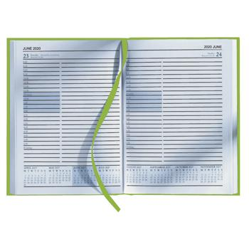 A5 Desk Diaries 2020, One Day To A Page, Hardbacked, Appointment Times, Lime Green, Each