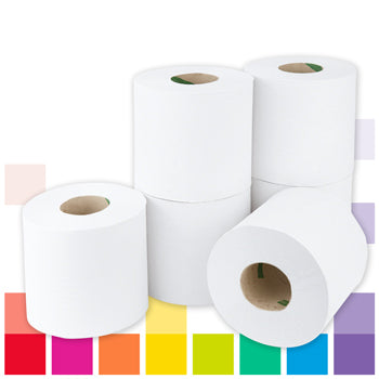 Smartbuy, White Centrefeed Rolls, 1 Ply, Case of 6 Rolls