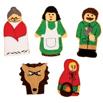 Cloth Finger Puppets, Little Red Riding Hood, Set of 5