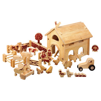 Wooden Buildings, Natural Wood Deluxe Barn & Farm, Age 3+, Set