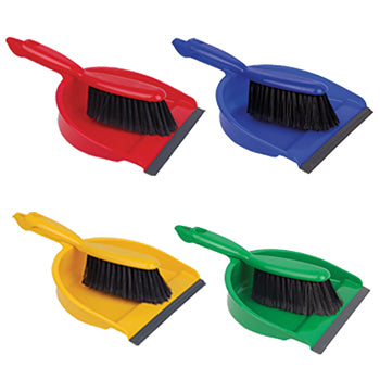 Colour Coded Soft Dustpan and Brush Set, Red
