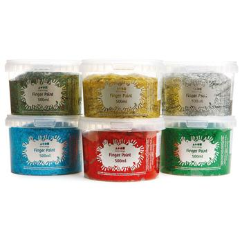 Brian Clegg Finger Paints, Glitter, Pack of 6 x 500ml
