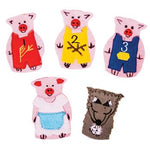 Cloth Finger Puppets, Three Little Pigs, Set of 5