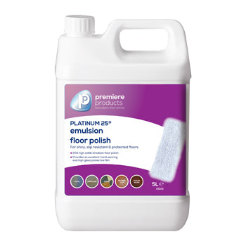 Emulsion Floor Polishes, Platinum 25(R), Premiere Products, Case of 2 x 5 Litres
