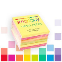 Repositionable Notes, Smartbuy, Neon Assorted, 76 x 76mm, Pack of 6 Pads