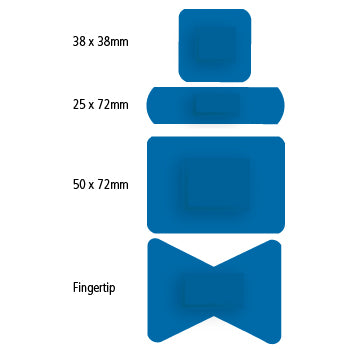 Plasters, Sterile, Individually Wrapped, Blue Metallic Detectable Plasters, 5 Assorted sizes, Box of 120