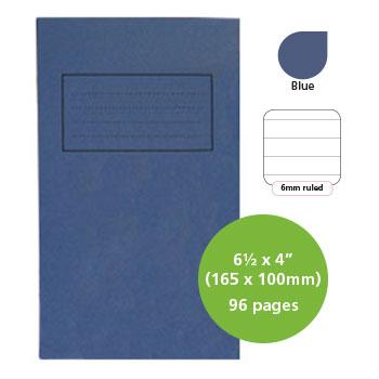 Exercise Books, Manilla Covers, 6 1/2 x 4'' (165 x 100mm), 96 Pages - Notebook, Blue, 6mm Ruled, Pack of 25
