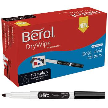 Berol By Papermate, Drywipe Pens Slimline Barrels, Broad Tip, Black, Pack of 12