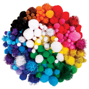 Pom Poms, Assorted Styles, Pack of 350 Approx.