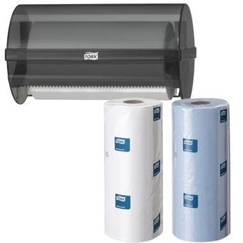 Multpurpose Wipers, Tork Hygiene Roll Dispenser, Black Plastic, Each