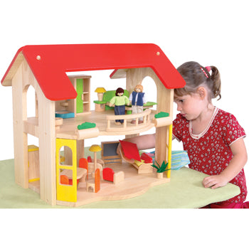 Wooden Dolls' Houses, Open Plan Dolls' House, Age 3+, Set