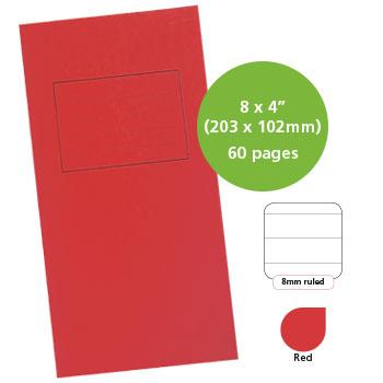 Exercise Books, Manilla Covers, 8 x 4'' (203 x 102mm), 60 Pages - Notebook, Red, 8mm Ruled, Pack of 25