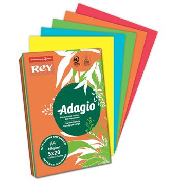 Rey Adagio Card, Deep Colours, A5, 160gsm (200 micron), Pack of 5 x 50 Sheets, Assorted