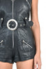 Tara Leather Biker Romper with Zippers