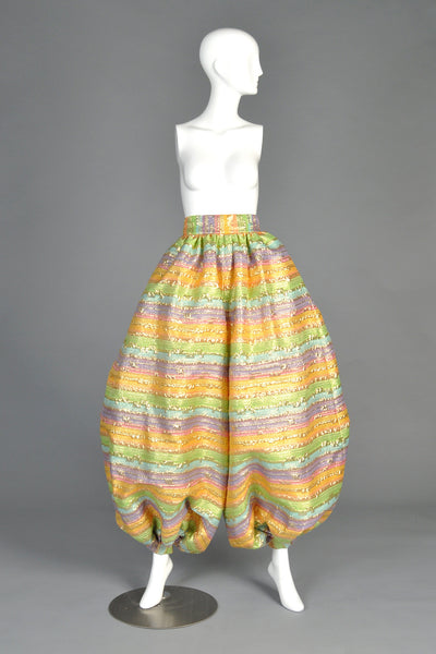 Adolfo 1960s Striped Brocade Balloon Pants