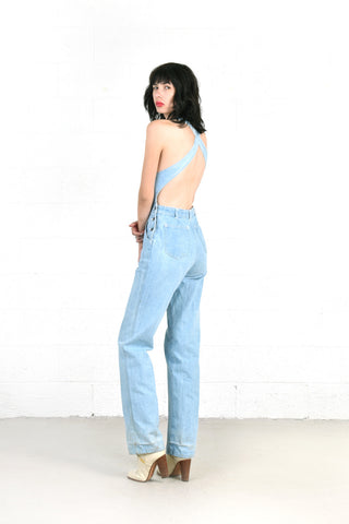 Vintage 1970s Backless Denim Overalls Jumpsuit