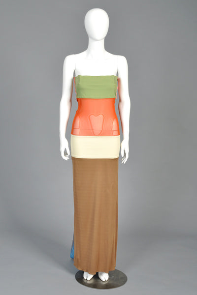 Jean Paul Gaultier Colorblock Gown with Bows