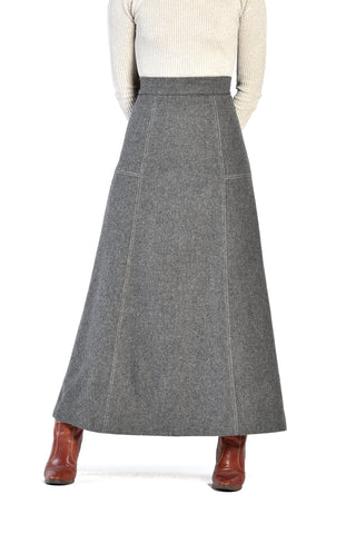Ellen Tracy 1960s Grey Wool Flannel Maxi Skirt