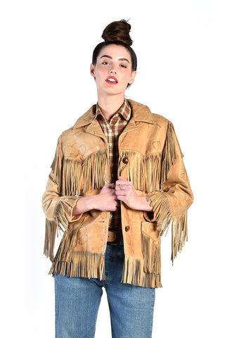 Lannie 1970s Embossed Leather Jacket with Fringe
