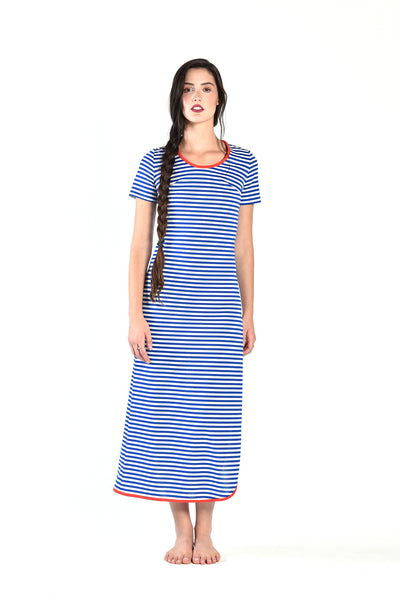 Kate Blue + White Striped Maxi Dress with Slit