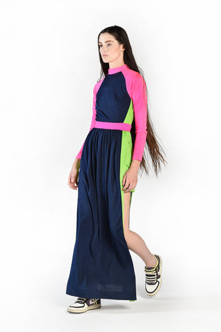 Sylvia 1970s Neon Colorblock Maxi Dress