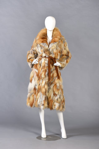 Clarissa 1970s Patchwork Red Fox Fur Coat