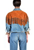 Bess Cropped Denim Jacket w/ Suede Fringe