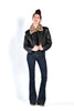 Brit Black Leather Jacket w/ Removable Faux Leopard Fur Collar