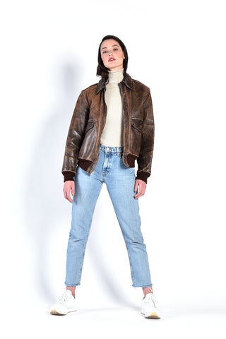 Jackie Distressed Leather Bomber Jacket