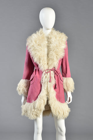 Iconic 1960s Pink Lilli Ann Shearling & Suede Coat