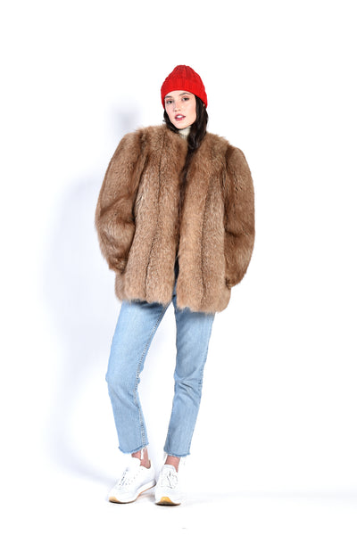 Shalene 1940s Chubby Fox Fur Coat