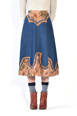 Tawnya 70s Patchwork Denim Skirt