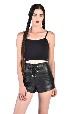 Roxanne 1960s Corset Front Leather Biker Shorts