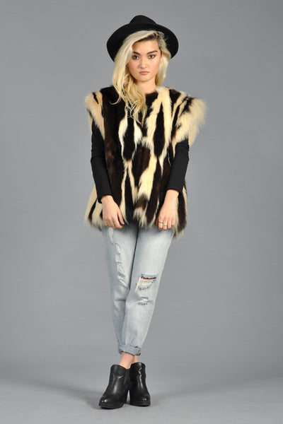 70s Skunk Fur Striped Gilet