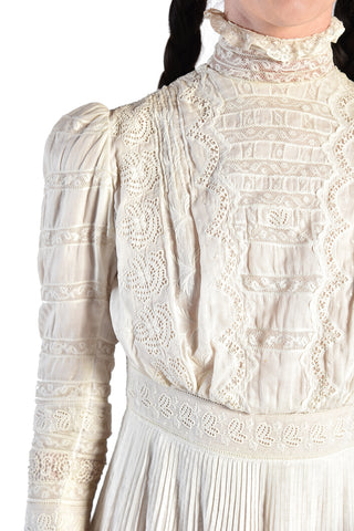 Colette Edwardian Cotton + Lace Dress