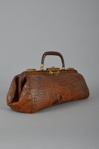 Antique Crocodile Chicago Doctor's Bag